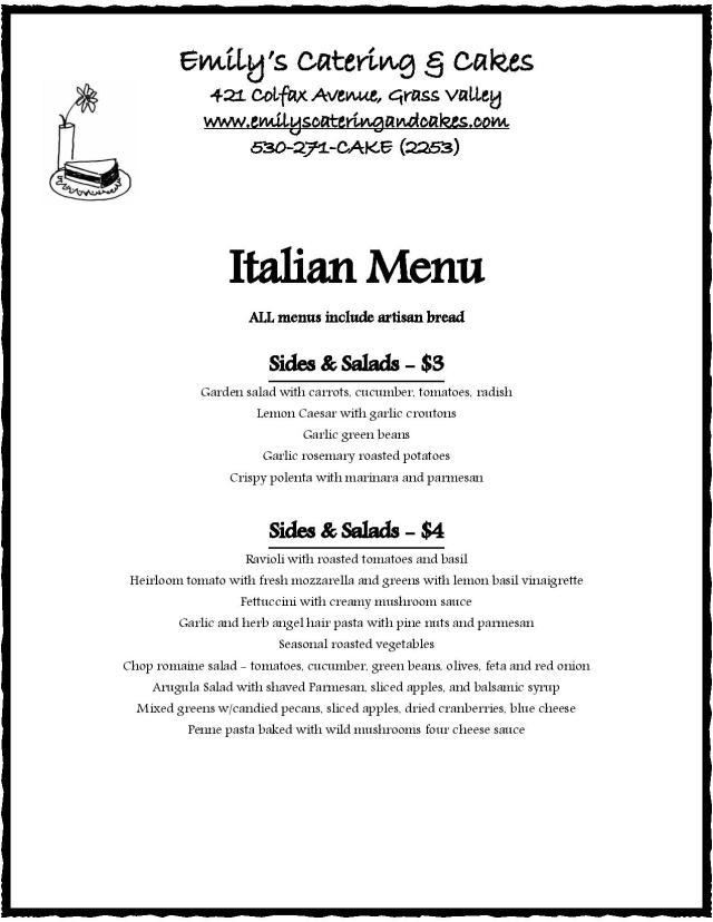 Italian Menu – Emily'S Catering & Cakes